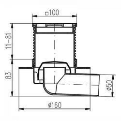 MCH CHUDĚJ Podlahová vpusť PVB50N-L1 nerezová mřížka 100x100mm s límcem - 2