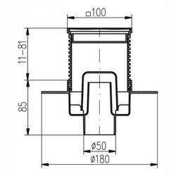 MCH CHUDĚJ Podlahová vpusť PV110N-PR2 nerezová mřížka 122x122 s přírubou - 2