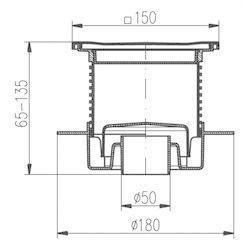 MCH CHUDĚJ Podlahová vpusť PV50N-L4 celonerezová s límcem - 2