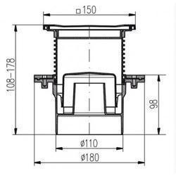 Podlahová vpusť PV110N-L4 celonerezová s límcem - 2