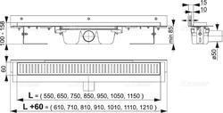 ALCAPLAST APZ4 650 podlahový žlab ke stěně - 2