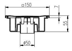Podlahová vpusť DN50/55N nerez mřížka - 2