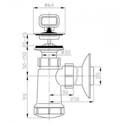 PLAST BRNO EU0N342 umyvadlový sifon 40 nerezová mřížka - 2