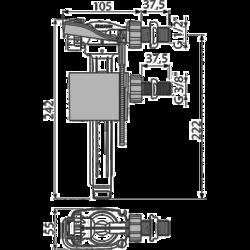 ALCAPLAST A160UNI Napouštěcí ventil boční kovový závit univerzální - 2